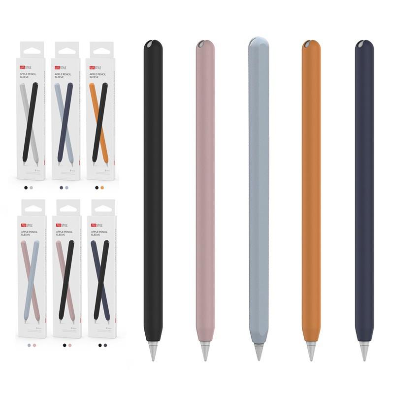 ✱┇♙กล่องดินสอแอปเปิ้ลนุ่ม เคสซิลิโคน สำหรับปากกา Apple Pencil, 2 Pcs Ultra Thin Case Silicone Skin Cover Compatible wi