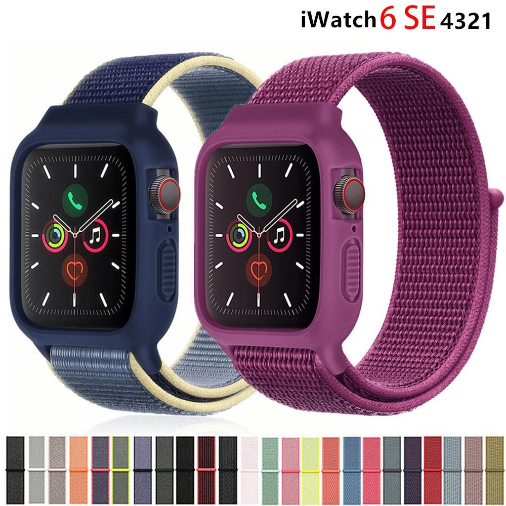 สายนาฬิกาข้อมือไนล่อน + เคสสําหรับ Apple Watch Band 44 มม . 40 มม . 42 มม . 38 มม . Iwatch Bracelet Series 6 SE 5 4 3 2 1