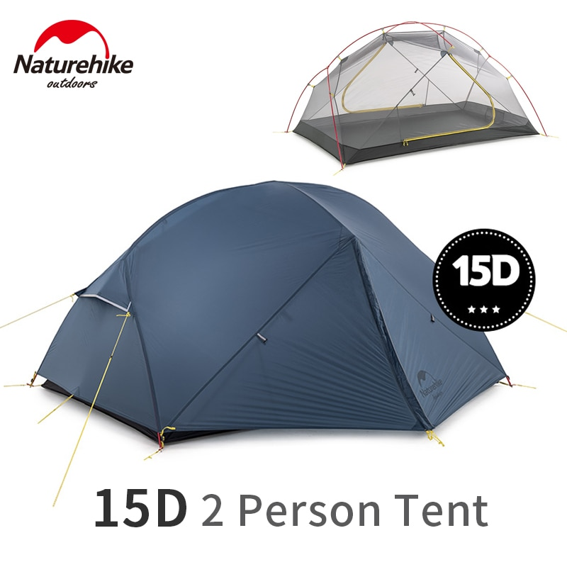 Naturehike Mongar 2 3 Person Camping Tent 2 Person Ultralight 15D Nylon Fabric Double Layer Tent Camping Waterproof With