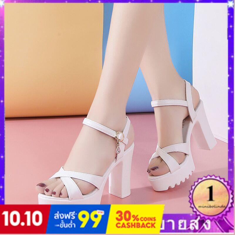 ⭐👠รองเท้าส้นสูง หัวแหลม ส้นเข็ม ใส่สบาย New Fshion รองเท้าคัชชูหัวแหลม  รองเท้าแฟชั่นรองเท้าแตะของผู้หญิงนักเรียนเกาหลีใ