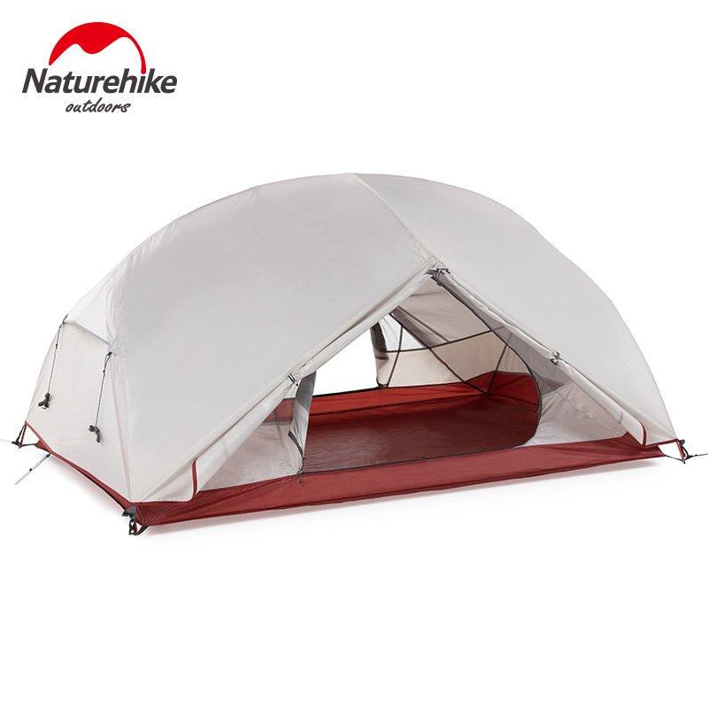 Naturehike Custom Mongar 1 2 3คนกันน้ำDouble Layerกลางแจ้งเต็นท์อลูมิเนียมก้านสีเทาUltralight Campingเต็นท์Mat 2mzi