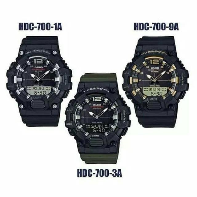 นาฬิกา Casio HDC700-3AV Combo เวลาโลก 3 นาฬิกาปลุกกีฬาผู้ชายนาฬิกากันน้ำรับประกัน 1 ปี