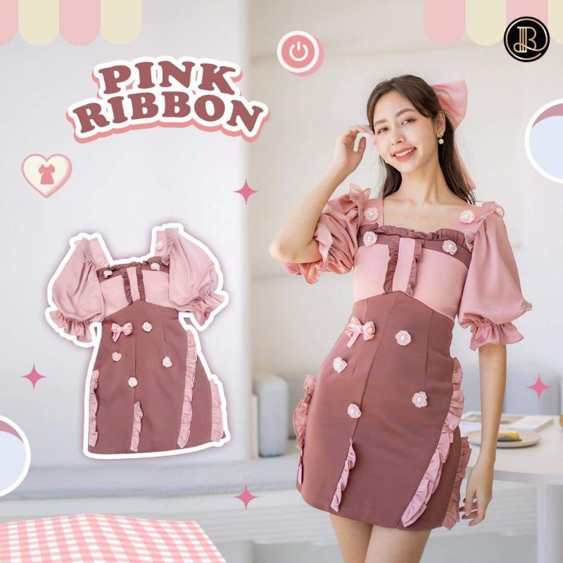 pink ribbon dress blt xs s
