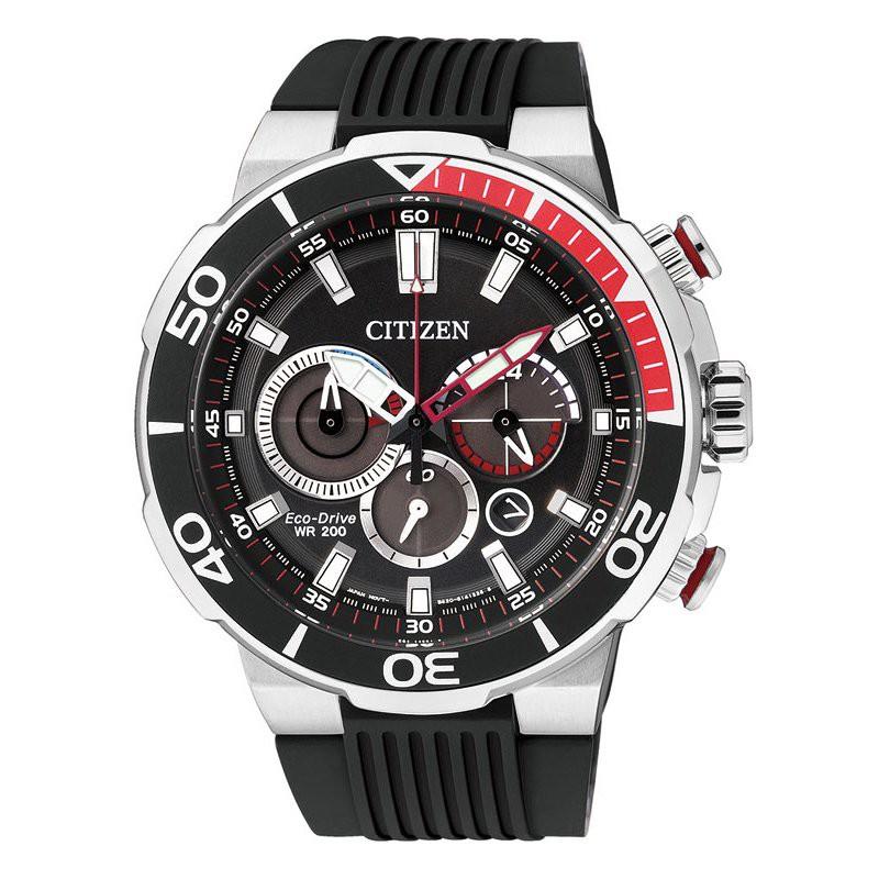 CITIZEN Eco-Drive Chronograph CA4250-03E - Silver/Black-Red สายยาง Black