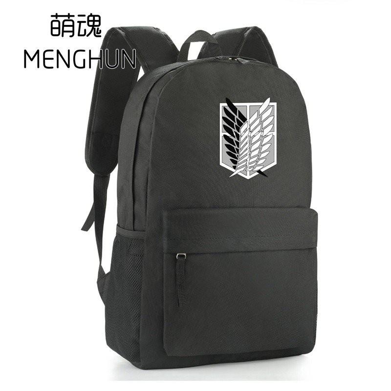 nHzT Attack on titan anime backpack cartoon black nylon backpacks game anime freedom wings survey crops backpacks