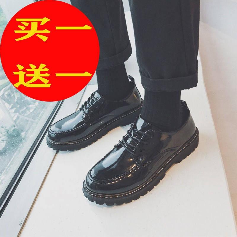 รองเท้าคัชชูผู้ชาย ❀รองเท้าหนังชายเวอร์ชั่นเกาหลีของเทรนด์รองเท้าผู้ชายชุดสูทอังกฤษเพิ่มขึ้นสีดำหนุ่มธุรกิจรอบผู้ชายรองเ