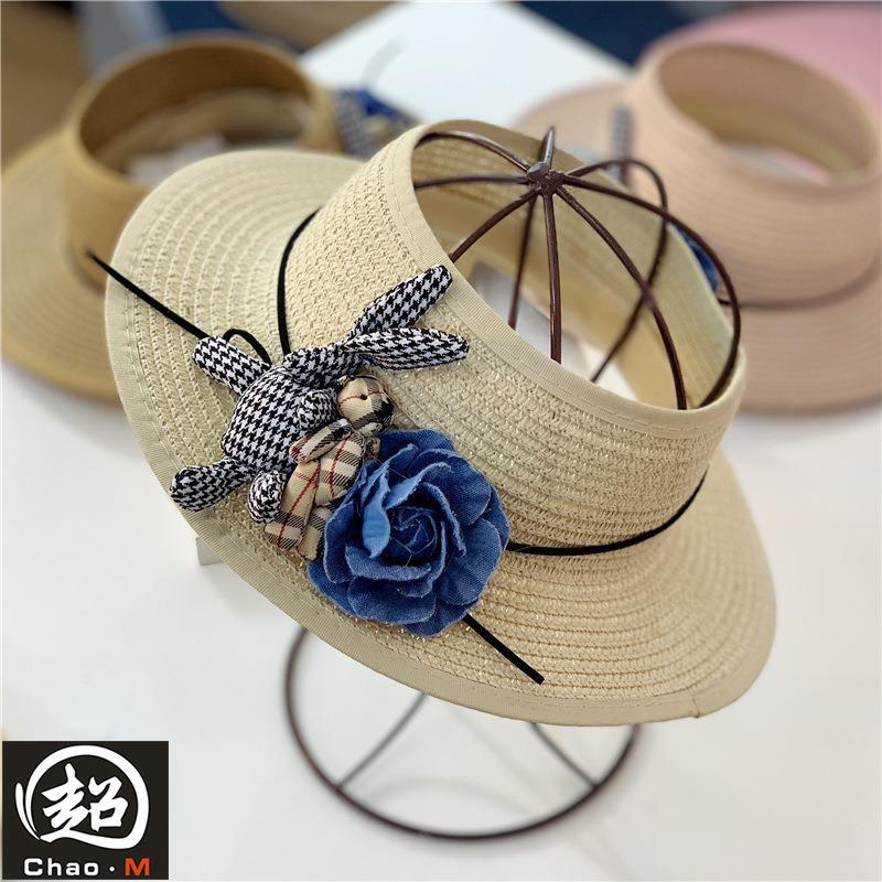 Humor Straw Cute Fashion Foldable Beach Cap Empty Top Kids Hat Wide Brim Cartoon Travel Rabbit Ear Breathable Gift Sunshade Summer Hats & Caps
