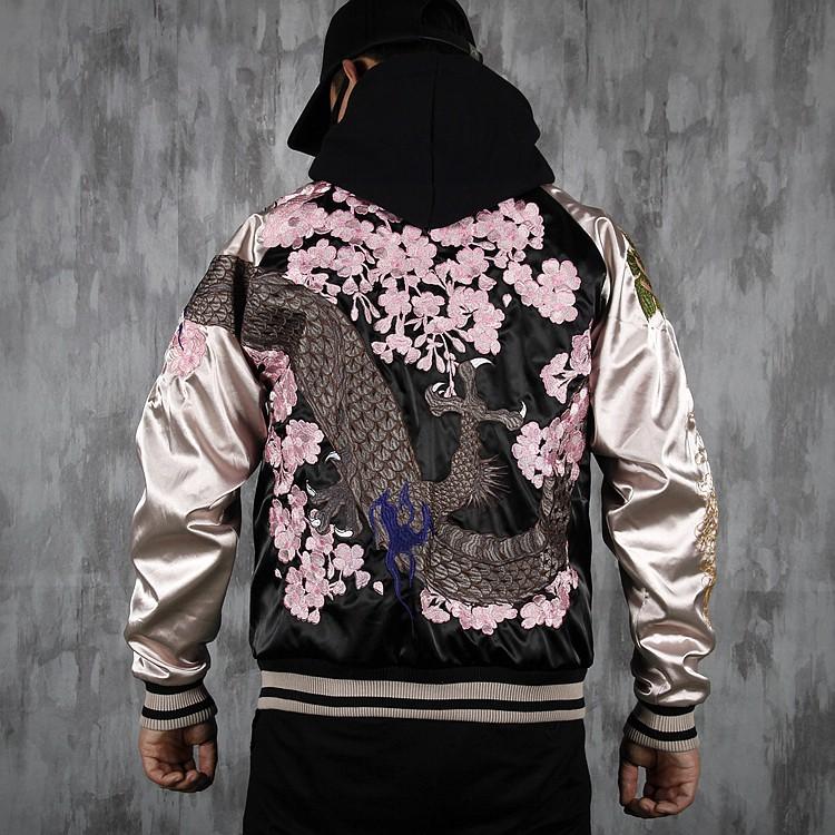 SUKAJAN พรีเมียมเกรด Japanese Souvenir Jacket  แจ็คเกตซูกาจันลาย  DRAGON SAKURA