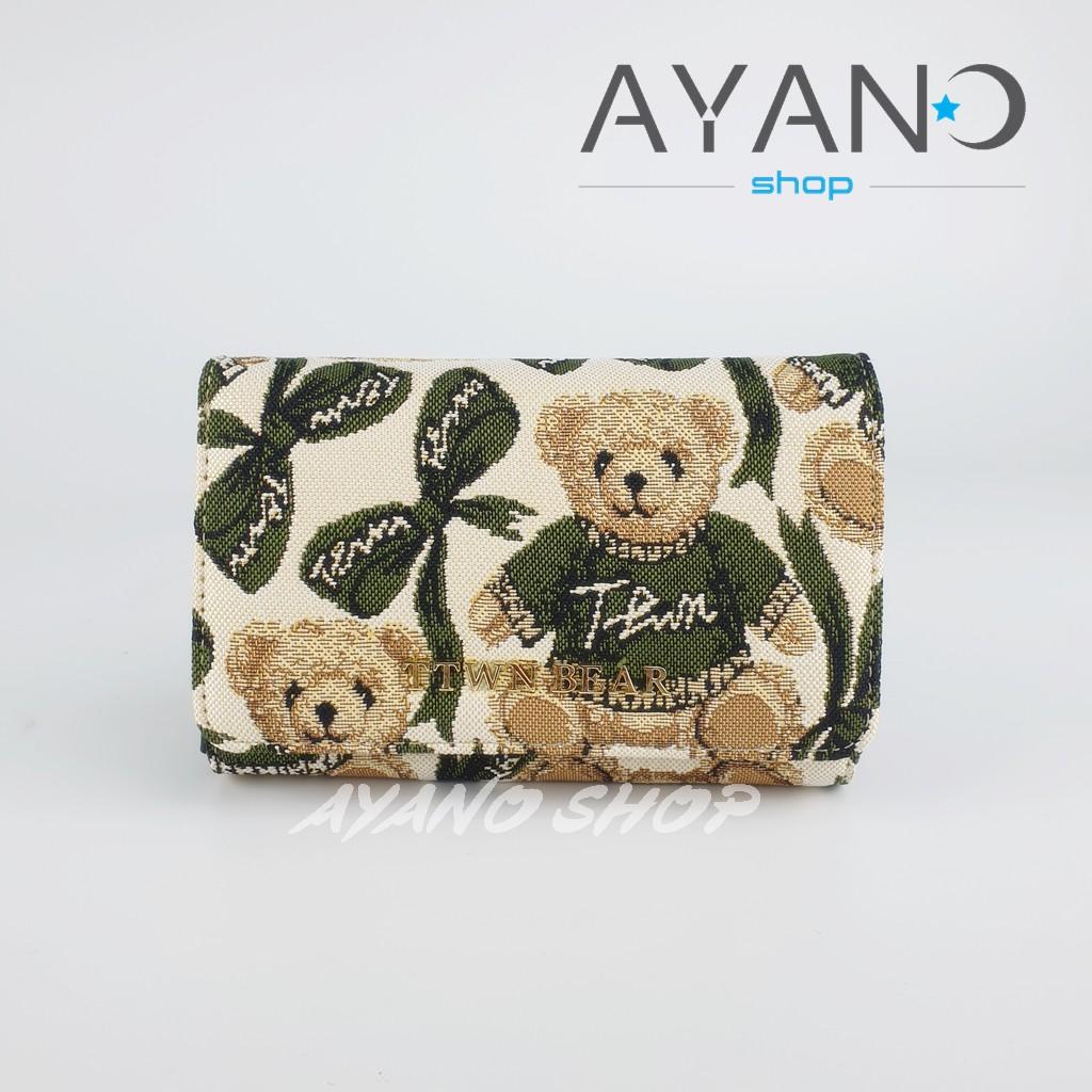 กระเป๋าสตางค์ใบกลางรุ่นพับน้องหมี Daivd Duke (TTWN BEAR) สีครีมโบว์เขียว