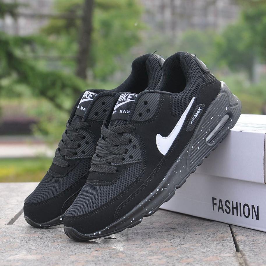 Ready Stock  New Fresh pure black white airmax 90 unisex shoes 36-44