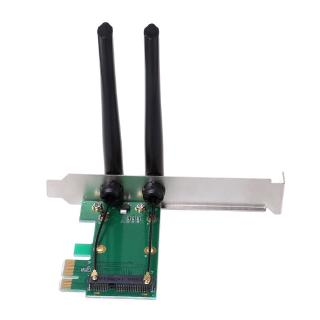 Wireless Network Card WiFi Mini PCI-E Express to PCI-E Adapter 2 Antenna External PC