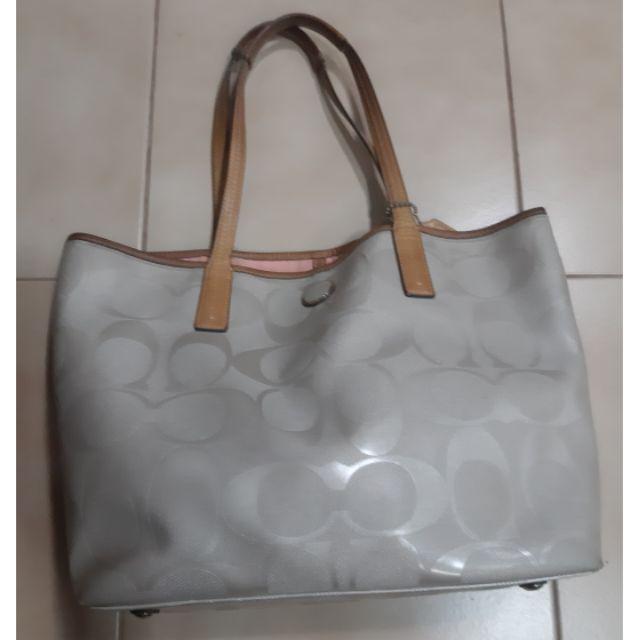 กระเป๋า Coach ผ้าแคนวาส มือ2 สีเนื้อ ของแท้