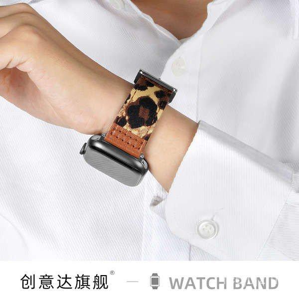 สาย applewatch Creative Da สาย iwatch หนังพิมพ์ลายเสือดาว applewatch apple watch สาย se houndstooth รุ่นที่ 6 5/4/3 สร้า