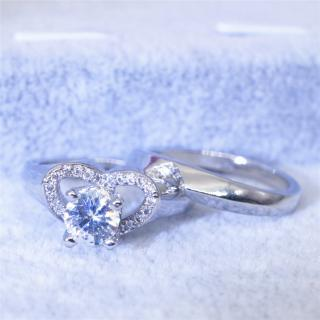 Female Fashion Creative Simulation Diamond Heart Ring Engagement Ring Set
