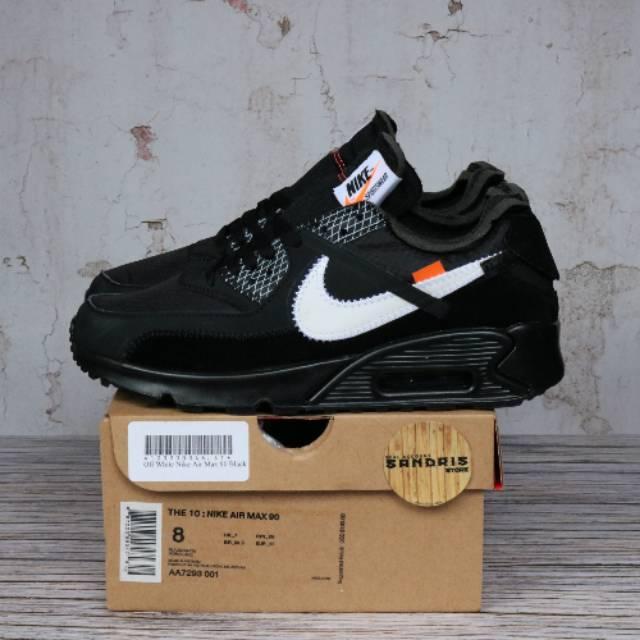 Nike Airmax 90 Off รองเท้าผ้าใบลําลองสีขาวดํา