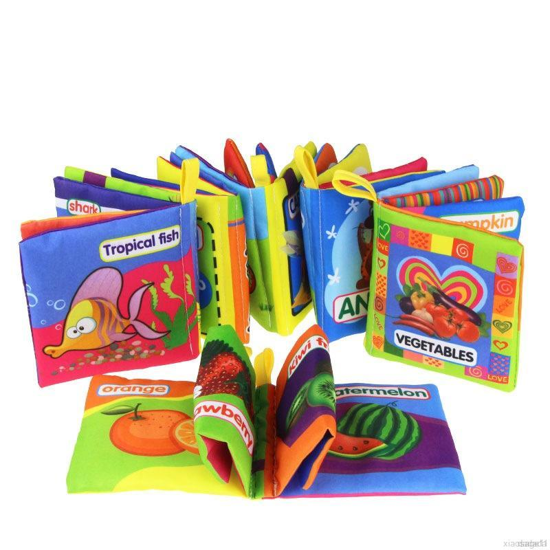 *HAHA GIRL*Infant Cloth Book Cartoon Animal Pattern Baby Soft Teethers Books Educational Learning Toys