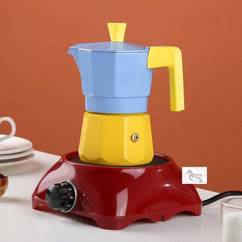▤ผลิตภัณฑ์ใหม่  หม้อ Moka, วาล์วคู่, เครื่องทำกาแฟในครัวเรือนขนาดเล็ก, เครื่องชงกาแฟเอสเปรสโซ, มือ ชุดหม้อกาแฟ จัดส่งฟรี