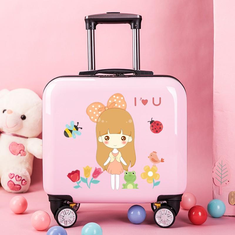 ☸れ กระเป๋าเดินทางพกพา  กระเป๋ารถเข็นเดินทางกระเป๋าเดินทางสำหรับเด็กเจ้าหญิงโลโก้ที่กำหนดเองกรณีรถเข็นเด็กผู้ชายและเด็กผู