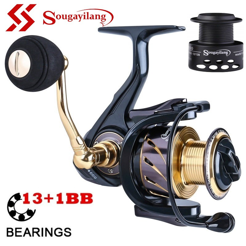 Sougayilang Spinning Fishing Reel 13+1 BB Light Weight Ultra Smooth Powerful for