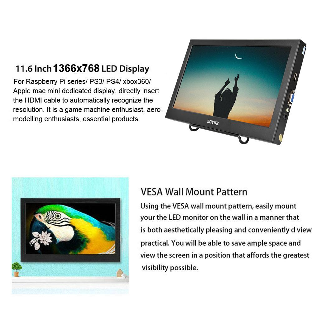 Monitor 1366x768 Inch Pi for 6 Screen PS3/4 Raspberry Xbox360 11 Windows  Portable HDMI