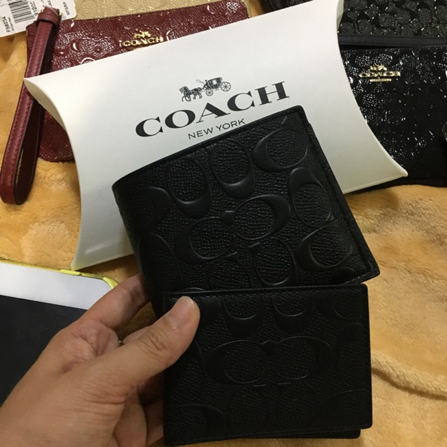 New coach กระเป๋าสตางค์ผู้ชายใบสั้น มีไส้ พร้อมกล่องค่ะ