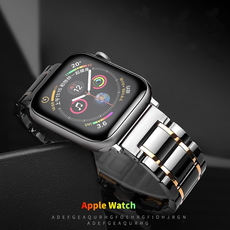 Luxury Business Ceramic Band For Apple Watch 44mm 42mm 40mm 38mm Bands iWatch Series SE 6 5 4 3 2 Double Color Noble Replace Strap