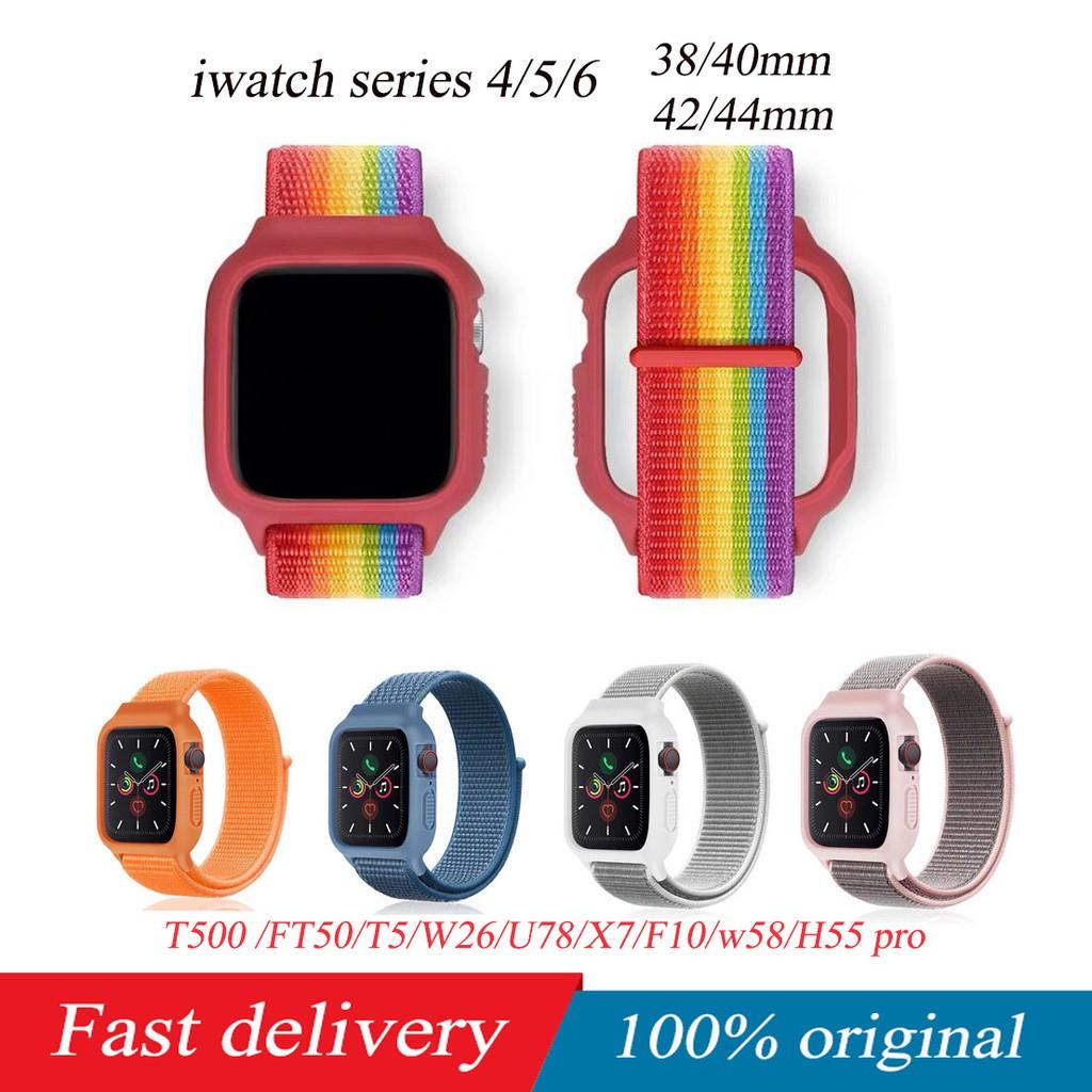 T500 T600 FT50 W26 W98 F10 U78 T600 Apple watch case+nylon strap iwatch series 4/5 38/40/42/44mm