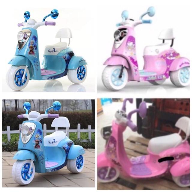 Kids castle รถมอเตอร์ไซด์เจ้าหญิงสีฟ้า แบตเตอรี่