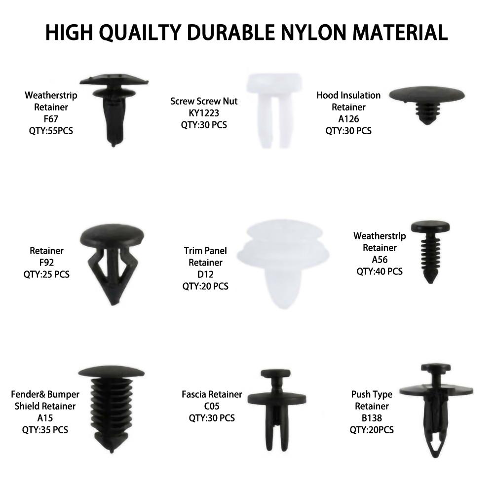 3 Days Shipping Nylon Bumper Push Fasteners Rivet Clips Screws Replacement Kit