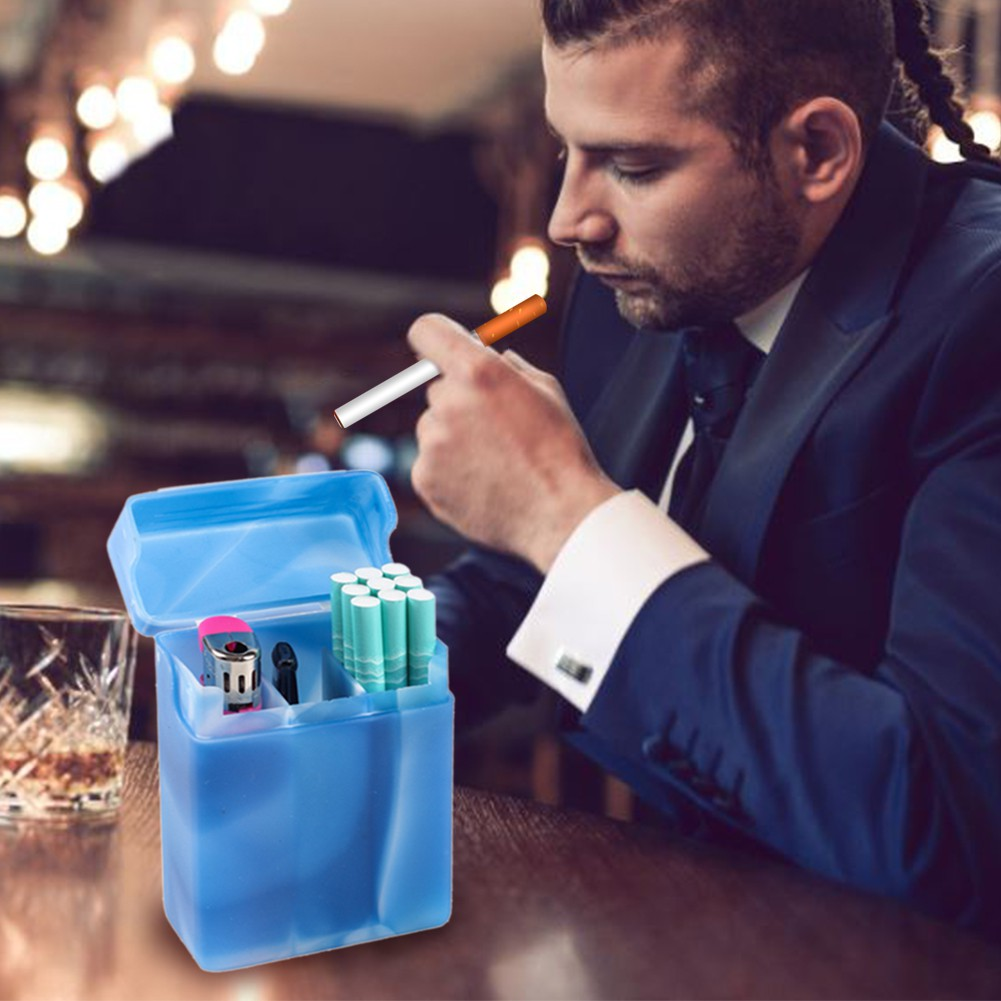 LR♥♡ Cigarette Case with Compartments Portable Plastic Cigarette Case Box Cigarette Storage Box Holder Random Color