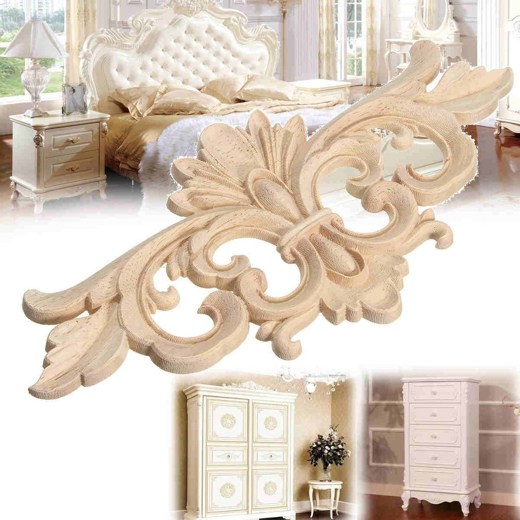 4pcs Unpainted Wood Carved Corner Onlay Frame Applique for Furniture Decor