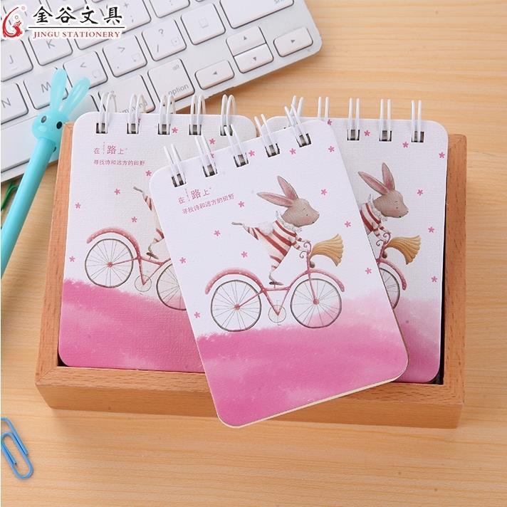 ♠[สินค้าใหม่ Hot sale] Jingu small vertical flip portable coil notebook mini creative pocket notepad 4 books [in stock]