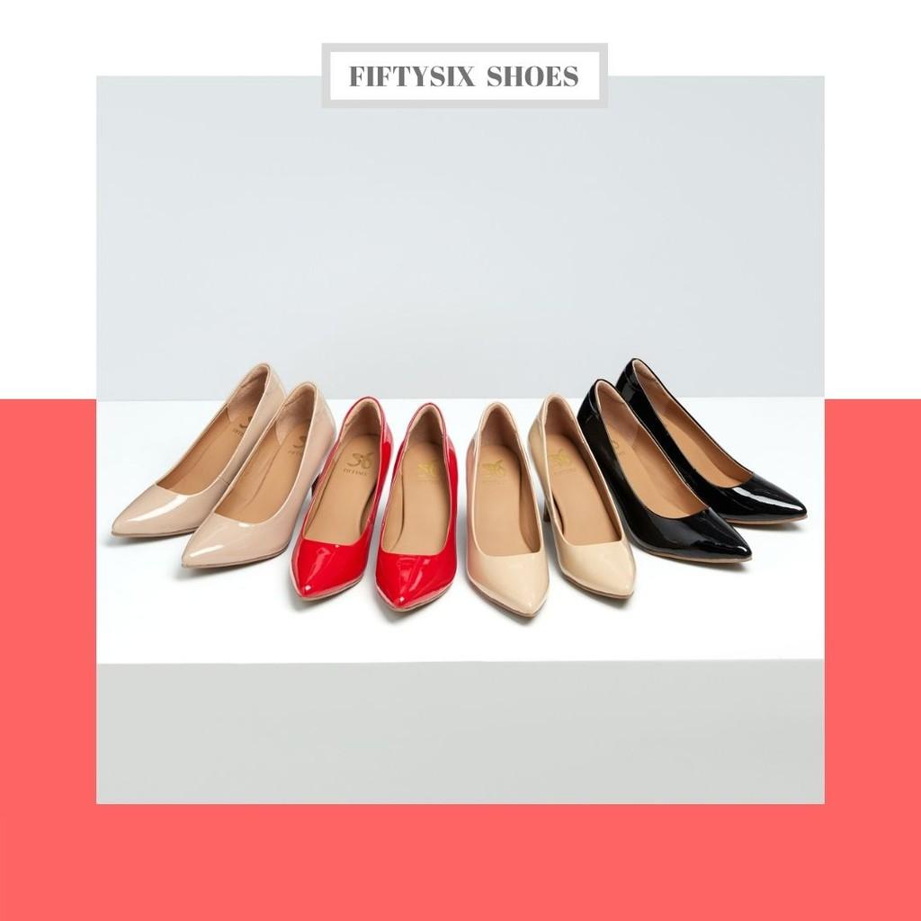 Fiftysix รองเท้าหนังแกะแก้ว  รองเท้าคัชชูหนังแก้ว  หนังนิ่มใส่สบาย  รุ่น  Midnight GLOSSY
