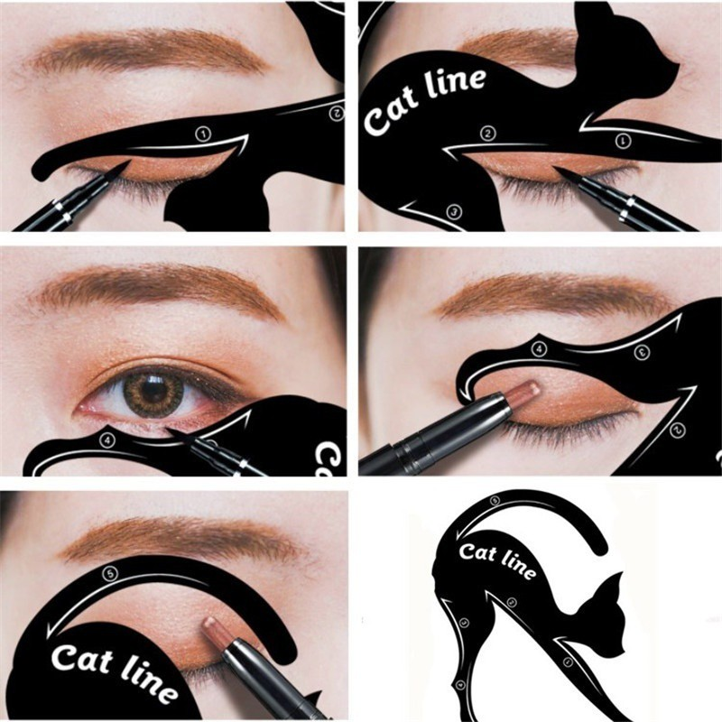 2pcs Cute Cat Eyeliner Stencil kit Double Wing eye shadow frame card makeup tool
