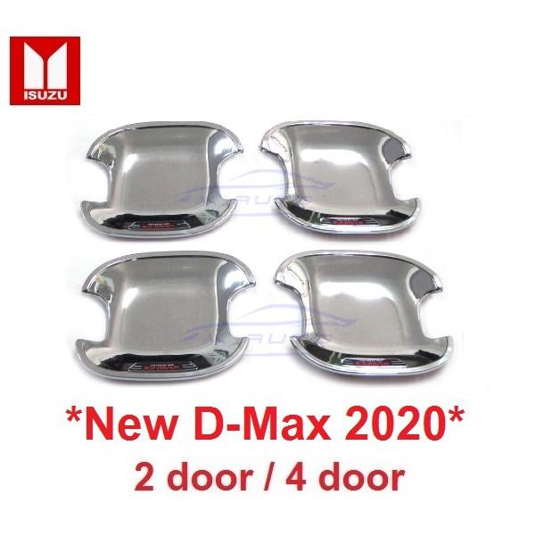 (4ชิ้น) ถ้วย/เบ้า Isuzu New D-Max อีซูซุ ดีแม็กซ์ 2020+ ชุบโครเมี่ยมโลโก้แดง,เบ้ากันรอย ถาดรองมือเปิดประตู เบ้ามือจับ