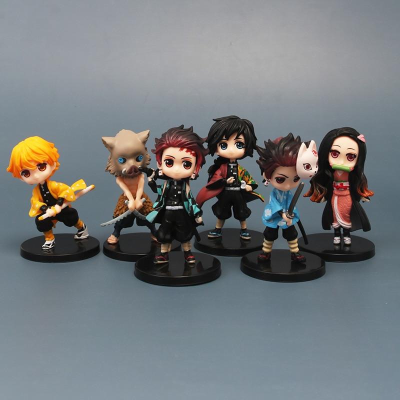 6pcs/set Demon Slayer : Kimetsu No Yaiba Nezuko Zenitsu Tanjirou Giyuu Inosuke Kyoujurou Action Figure Model Cake Figuri