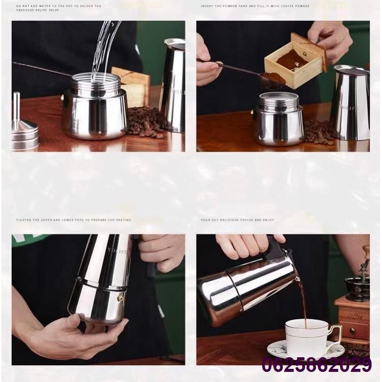 ✥หม้อกาแฟ หม้อต้มกาแฟสด เครื่องชงกาแฟเอสเพรสโซ่ มอคค่า กาต้มกาแฟสด เครื่องชงกาแฟสด เครื่องทำกาแฟ แบบปิคนิคพกพา สแตนเลส 3