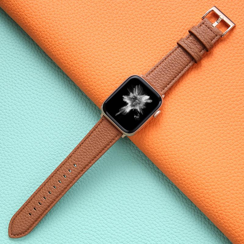 Я≌สายนาฬิกา 20mmสายนาฬิกาหนังบังคับ Apple Watch iwatch6สายรัดแบรนด์น้ำ applewatch สายลิ้นจี่ applewatch5/4/3/2/1รุ่นกีฬา