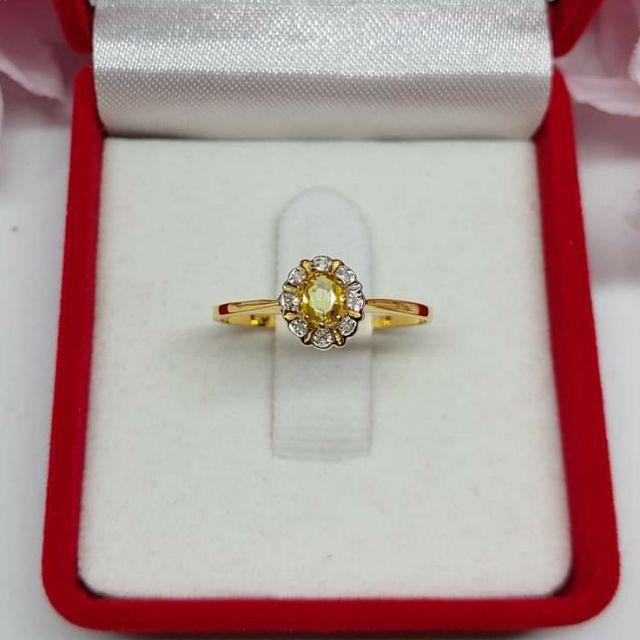แหวนพลอยล้อมเพชร ทองคำแท้ ราคาโรงงาน