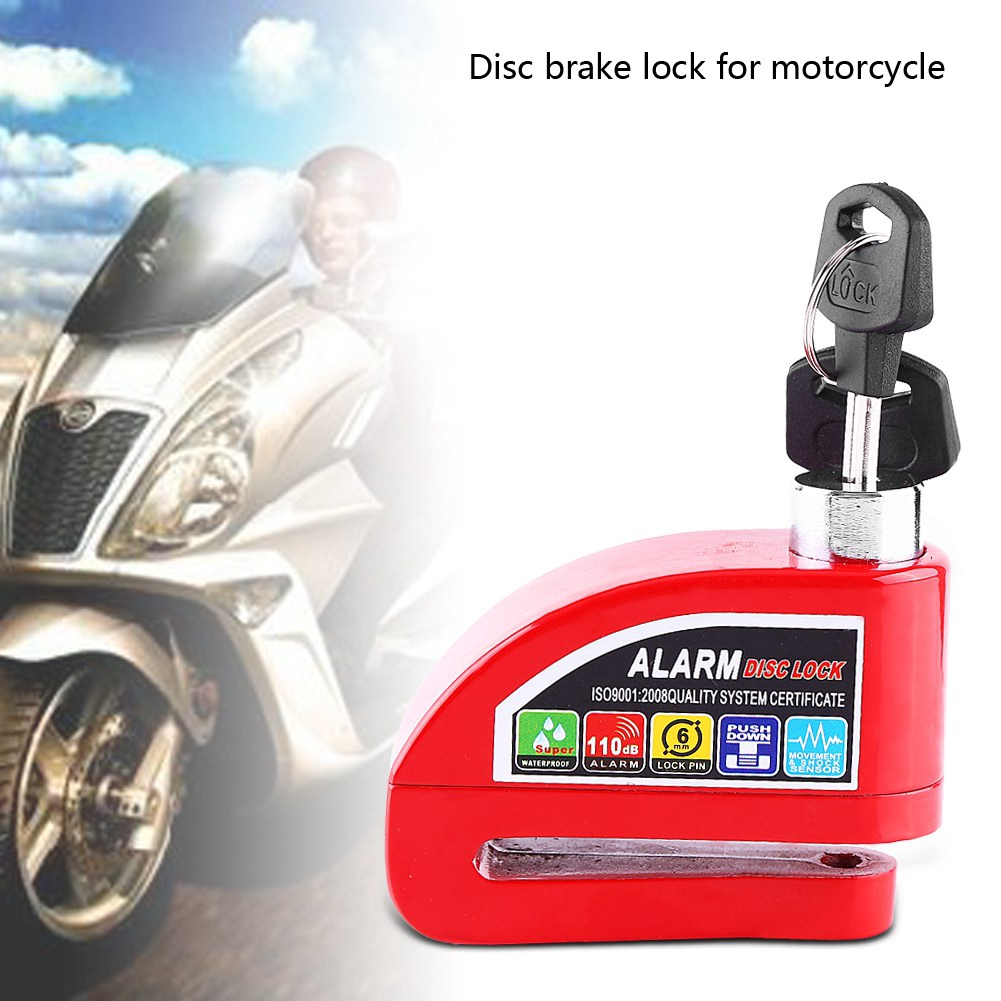 Blue Cuque Disc Brake Lock Motorcycle Anti-Theft Brake Lock Scooter Bicycle Security Alarming System with 2 Keys