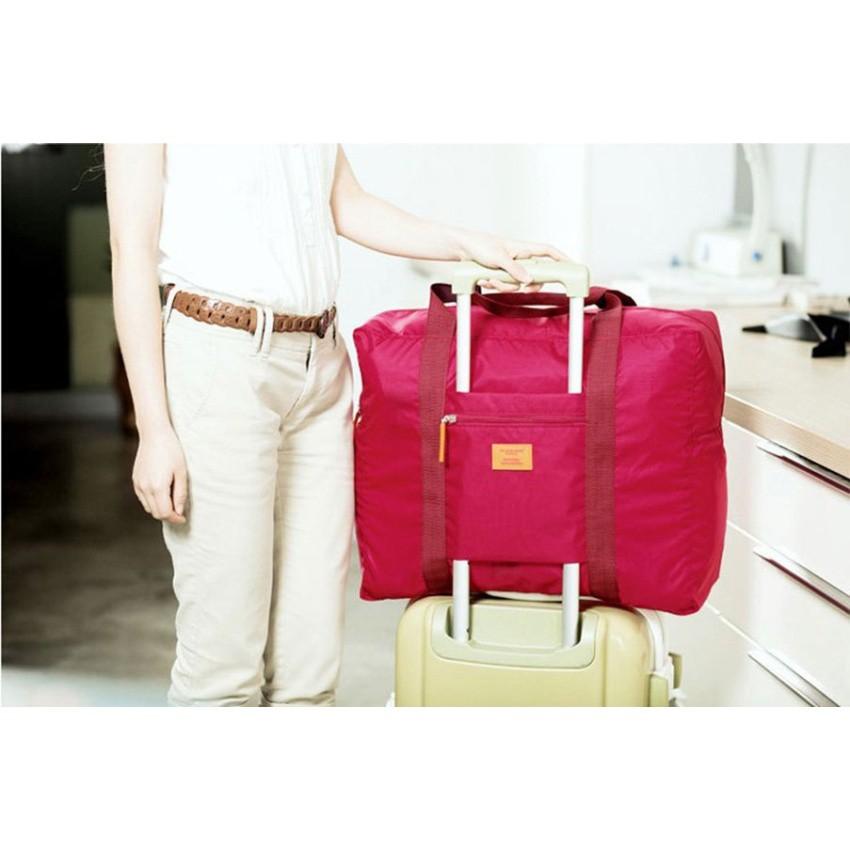 กระเป๋าเดินทางพับย่อส่วนได้ ใช้แขวนพ่วงกระเป๋าล้อลากได้รุ่น Folding Bag01 - สี Pink