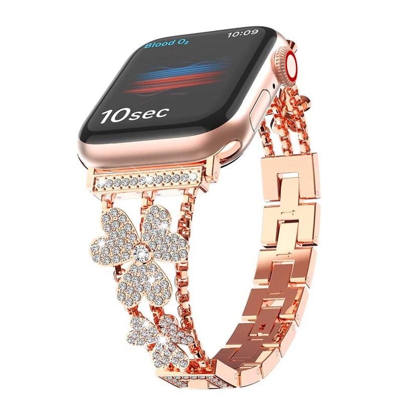 ஐ┅สายนาฬิกาสำหรับ Apple Watch 6 Band SE 44 มม. 40 มม. Bling สร้อยข้อมือสแตนเลส iWatch Series 5 4 สายสำหรับ Applewatch 3