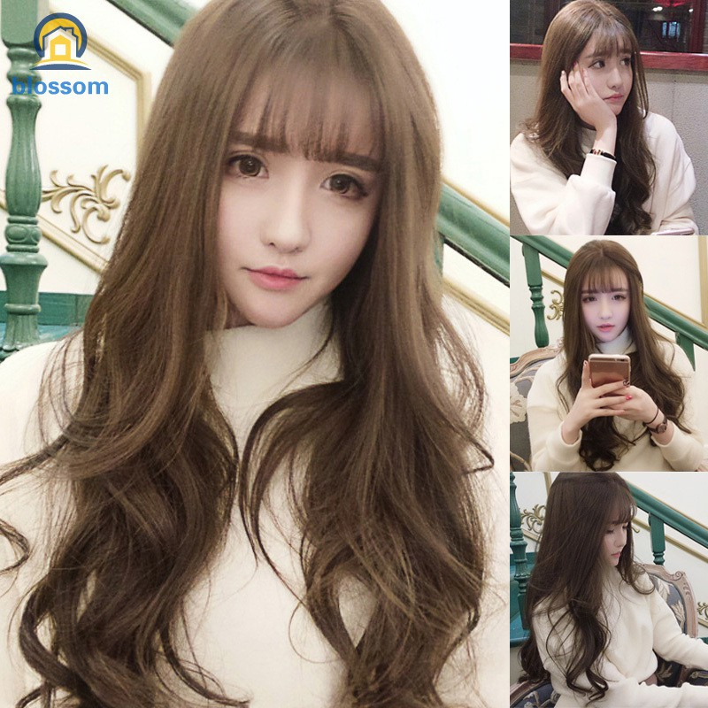 Wig With Air Bangs Fluffy Long Curly Hair Wig Water Ripple Wave For Girls Party Cosplay Shopee Thailand