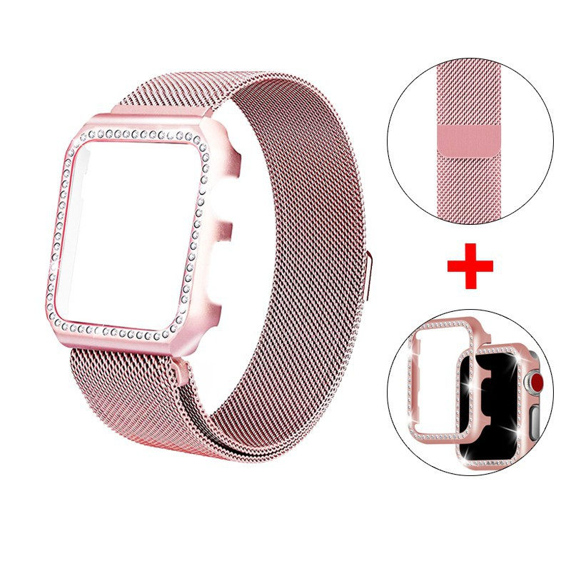 ☢❏strap + Diamond Case Apple Watch 38mm 40mm 44mm 42mm Stainless Steel Milanese Loop bands