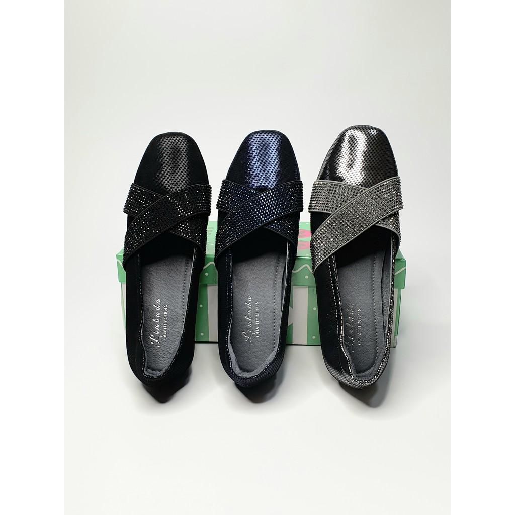 รองเท้าหนังแกะแท้ (อัดลาย) คัชชูเพื่อสุขภาพ รุ่น Peorza Cross