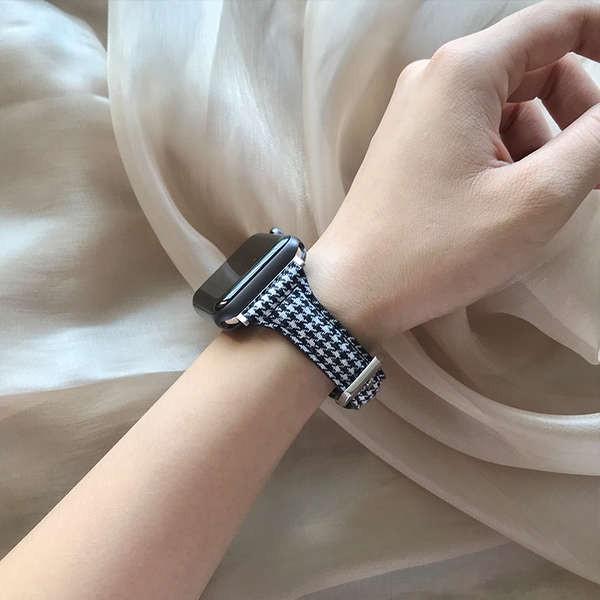 สาย applewatch ใช้ได้กับ Apple Watch se iwatch5432 สายหนังผ้าใบ Applewatch6 เทรนด์บุคลิกภาพ houndstooth