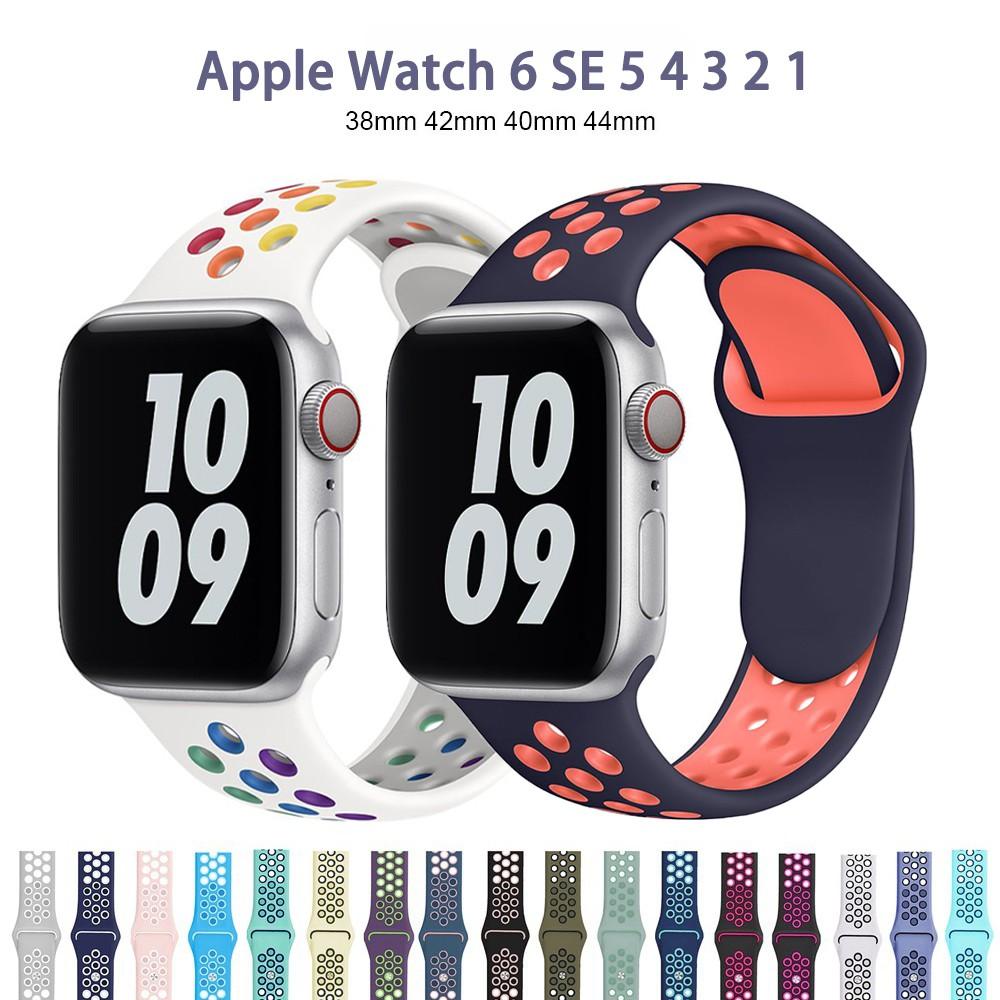 สายนาฬิกาข้อมือซิลิโคนสําหรับ Apple Watch Band Series 6 Se 5 4 3 2 1 Band 38 มม . 40 มม . 42 มม . 44 มม .