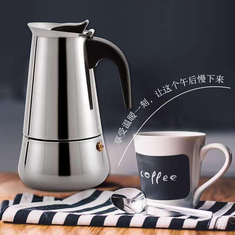 เครื่องชงกาแฟ เครื่องบดเมล็ดกาแฟ หม้อ moka อิตาลี, หม้อกาแฟทำมือ, สแตนเลสที่ใช้ในครัวเรือนหม้อกาแฟ moka อิตาลี, อุปกรณ์ช