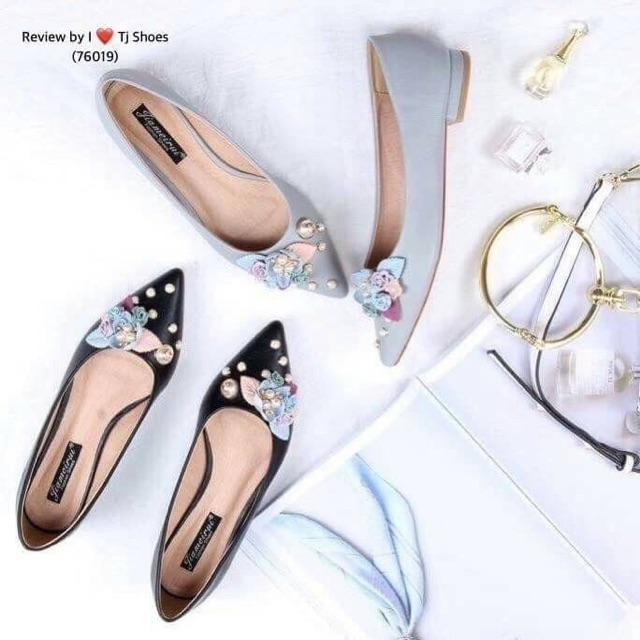 รองเท้าคัชชู (ดำ/เทาอมฟ้า)🌟