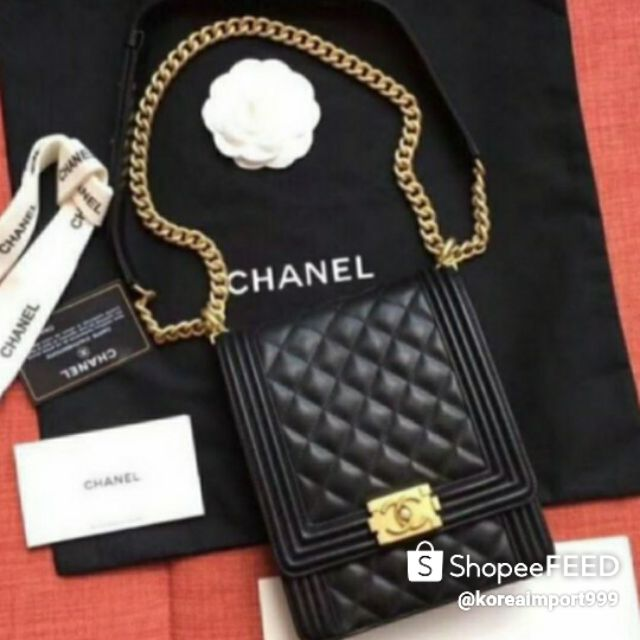 Chanel Boy Cruise Caviar Leather Bag With Gold Hardware
